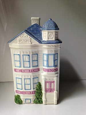 Victorian 1988 H & HD TOWNHOUSE House Cookie Jar Blue White