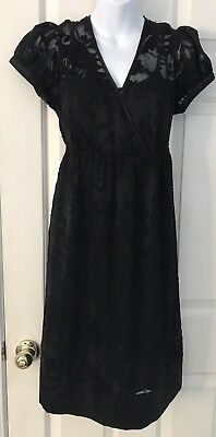 Motherhood Maternity Dress Sz L Unique Sheer Stencil Floral Lined Very Pretty