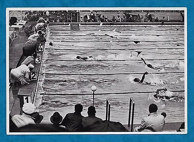 1936 Berlin Olympics Large German Cigarette Card 100M Backstroke Swimming Final