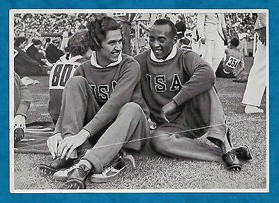 1936 Berlin Olympics Large German Cigarette Card Jesse Owens & Helen Stephens