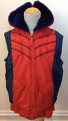 BAMBY Boys Vintage 80's Red Blue Faux Fur Zipper Hoodie Neck Parka Winter Vest 8