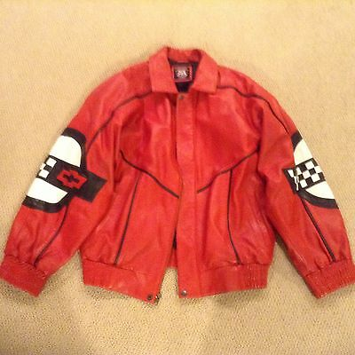 Corvette BOMBER JACKET Leather Genuine Chevy Chevrolet Racing Red Dawg LARGE