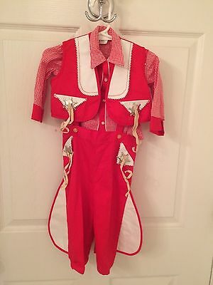 "vintage baby cowboy outfit, red and white ""sheriff"""