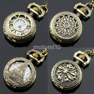 Mens Ladies 1 inch Dial Antique Pocket Watch with Chain Pendant Necklace US