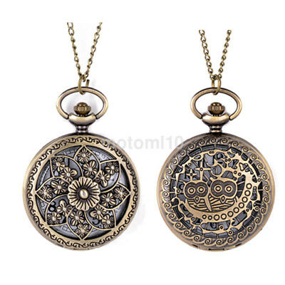 Mens Ladies 1 inch Dial Antique Pocket Watch with Chain Pendant Necklace UK