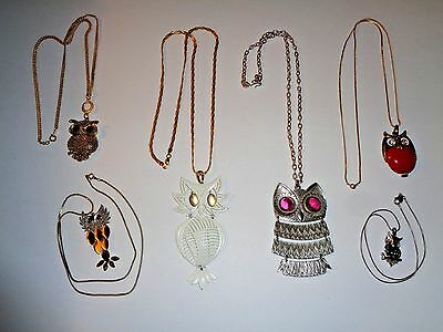 Vintage Owl Necklaces Lot of 6