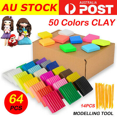 64PCS DIY Craft Malleable Fimo Polymer Modelling Soft Clay Block Plasticine Toy