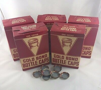 669 Vintage Gold Bond Bottle Caps with Original Box Unused Rubber Inside