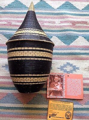 Tutsi Path-To-Peace Handcrafted Basket & Lid With Certificate Of Authenticity