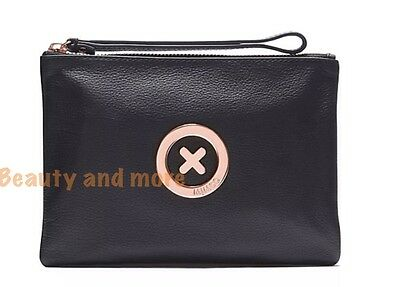 Mimco Supernatural Black Pouch Rose Gold Medium Leather Rrp $99.95