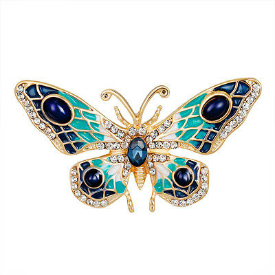 Gold Turquoise Blue White Crystal Vintage Inspired Butterfly Statement Brooch