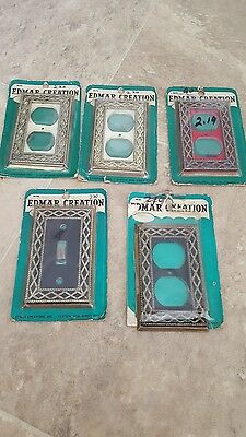 5 Vintage metal lightswitch/outlet covers