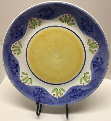 Caleca Serving Platter, ITALY, Ceramic. Hand Painted yellow, blue. large 14""