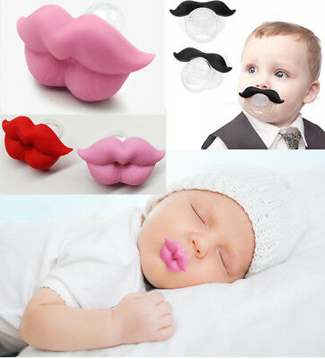 Infant Baby Kid Pacifier Orthodontic Nipples Mustache Beard & Mouth Style Cute
