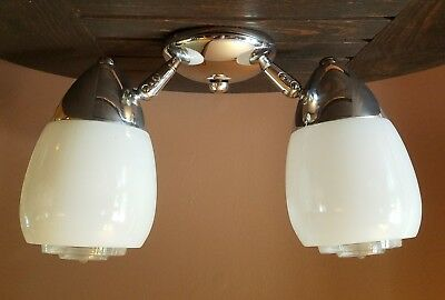 Vtg Chrome Art Deco Ceiling Light Fixture Chandelier Frosted/Clear Glass Shades