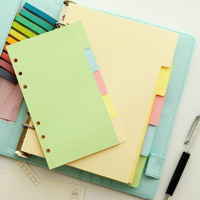 5x A5/A6/A7 Multi-Colored Blank Index Tabs Dividers Insert Text Organiser YQ1