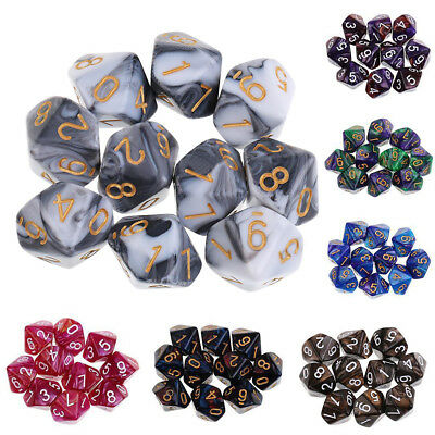 10pcs Set 10 Sided Dice D10 Polyhedral Dice for Dungeons and Dragons New