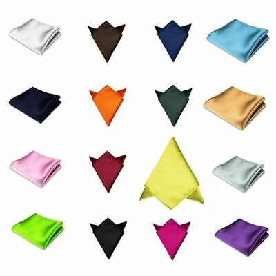 POCKET SQUARE Mens Silk Satin Handkerchief Hanky - 40 colours to choose from!