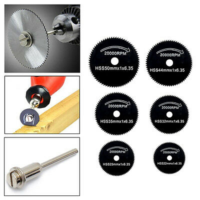 6pcs 22-50mm HSS Circular Saw Blades Cutting Discs Rotary Tool 1pc Mandrel