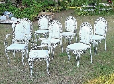 A WONDERFUL SET OF 8 ITALIAN SCROLLED WROUGHT IRON 1930's FLORAL GARDEN CHAIRS