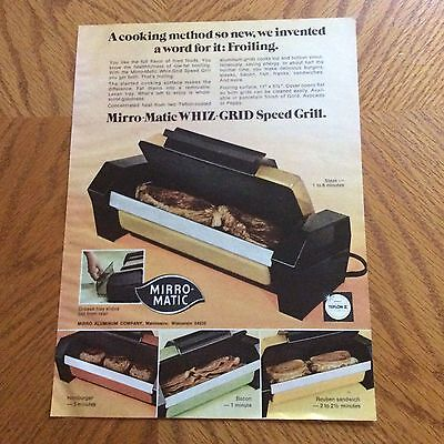 1976 Mirro-Matic Print Ad - Whiz-Grid Speed Grill - Steak In 1 To 6 Minutes