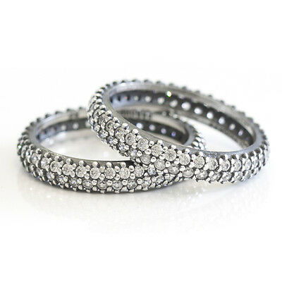 PAVE Size 6 925 Solid Sterling Silver Cubic Zirconia Oxidized Stacking Ring Band