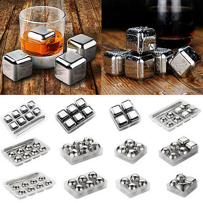 4/6/8pcs Chiller Reusable Stainless Steel Ice Cube Whiskey Stone Wine Cooler