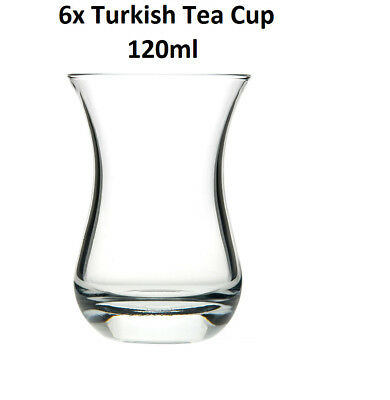 New 6 Pieces Traditional Glass Turkish Tea Cup Set 120ml