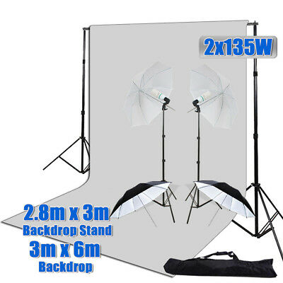 1350W Photography Video Umbrella Lighting Light Stand Kit 3x6m Muslin Backdrop