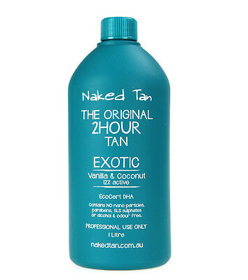 Naked Tan Exotic Solution 12% DHA Spray Tan Solution 2hr wash'n'wear Tanned