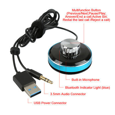 Bluetooth4.0 Wireless Music Receiver 3.5mm Adapter Handsfree Car AUX Speaker cy6