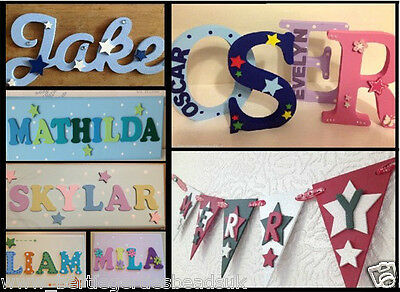 Personalised Painted Wooden Name Plaque - Letters, Sign, Bunting, Door, Scripted