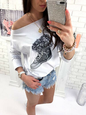 Fashion Womens Long Sleeve Loose Casual T-shirt Tops Off Shoulder Floral Blouse