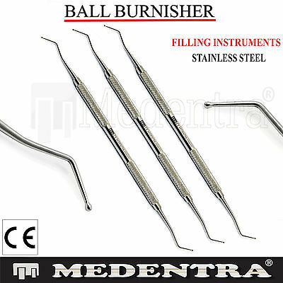 3Pcs Dental Restorative Ball Burnisher Amalgam Filling Instruments Lab CE