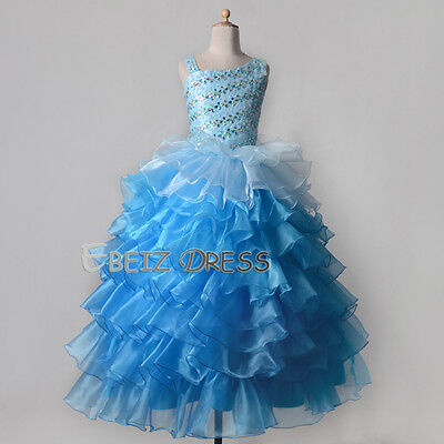 US Stock Blue Crystal Dress Flower Girl Pageant Puffy Gowns Size 4/6/8/10/12