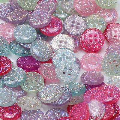 20pcs Assorted Resin Glitter Buttons 15mm Round 4 Holes Sewing Scrapbook Craft
