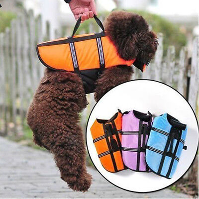 New Portable Dog Life Preserver Vest Jacket Cloth Pet Coat Aquatic Safety UK