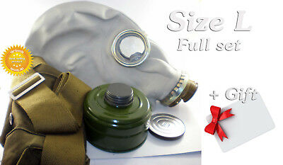 Size - 3. Soviet Russian Military Gas mask GP-5. Grey rubber. Full set + GIFT