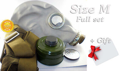 Size - 2. Soviet Russian Military Gas mask GP-5. Grey rubber. Full set + GIFT