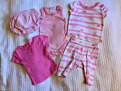 Baby Girls Bulk Pink Bundle 000 2 x Tops, Body Suit, Leggings & Nappy Cover Pant