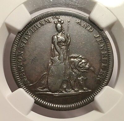 1811 Great Britain NGC EF-45 Copper Token - Newton Silversmith & Jeweler - Lion