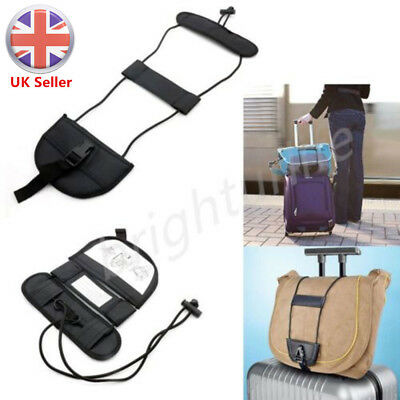 UK Add A Bag Strap Travel Luggage Suitcase Adjustable Belt Carry On Bungee Easy