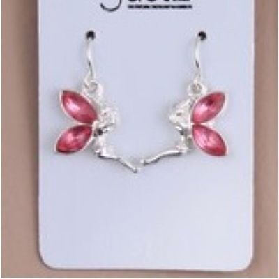 Girls Earrings Pink One Pair Silver Colour Fairy Tinkerbell Dangle Drop Earring