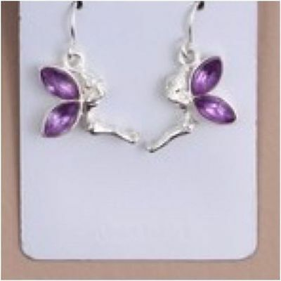 Girls Earrings Lilac One Pair Silver Colour Fairy Tinkerbell Dangle Drop Earring