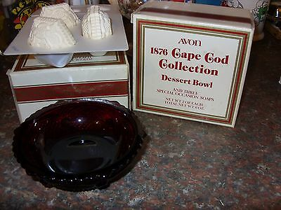 8 Avon 1876 Cape Cod Collection Ruby Red  Dessert Bowls  2 with boxes
