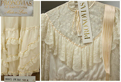 NWT Vintage 60´s PRONOVIAS wedding dress 100% PURE SILK+IVORY LACE antique BOHO