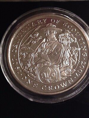 Isle of Man 1 Crown 2007 Boy Scouts Baden-Powell Century of the Scouts CuNi