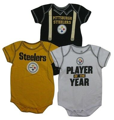 NFL Pittsburgh Steelers Babies 3-Piece Bodysuit Set, Assorted, Size 0-3 M, NWT
