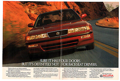 1992 ACURA Vigor Vintage Original Print AD - Red car centerfold photo, sedan