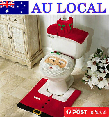 3 Santa Toilet Seat Cover Mat Water Tank Slipcover Christmas AU Local Delivery
